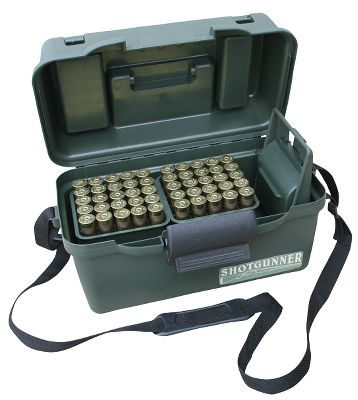 Hunting Ruggedly constructed shotshell carry case with a strong, comfortable handle, beefy easy-open latch and nylon shoulder strap. Two outside-access lid compartments with room for shells on one side and a game call on the other are teamed with molded-in shell holders for five cripple loads to keep a shotgunner ready for action. Inside are four, 25-round shotshell trays plus a unique EZ-Grab shotshell holster. Slide a tray onto the EZ-Grab and attach to your belt or pocket. Shotshells are held at a comfortable 45 angle for quick retrieval, excellent for dove and duck hunting, skeet, trap and sporting clays. EZ-Holder eliminates the need for a shell bag at trap and skeet fields. For 12-ga. shells up to 3.Dimensions: 15.1L x 9.1W x 8.5H.Color: Camo. - $24.99