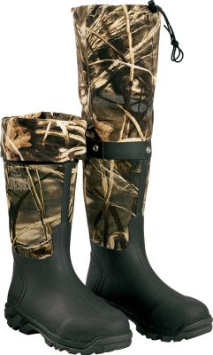 "Hunting The marsh hunter's dream hunting-boot comfort combined with the wet-terrain versatility of hip waders. These boots deliver with snap-closed roll-up gaiters that extend from approx. 16-1/2"" to 25-1/2"" for true knee-high coverage. Muck Boots define 100%-waterproof comfort with a self-insulating CR-foam shells that stretch for a comfortable fit with pants tucked in or out. Breathable Airmesh linings circulate air for maximum comfort. Speed-Tracker outsoles. Active comfort range: 70 F to -20 F. Average weight: 4.7 lbs.Men's whole sizes: 8-13. Camo pattern: Advantage MAX-4 HD . - $164.88"