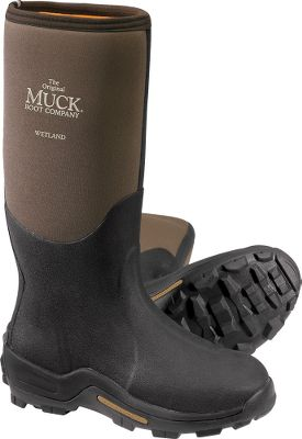 Hunting Learn more about Muck Rubber Boots. Muck makes extreme boots for extreme field conditions and is known for its premium rubber boots. The WetlandField boots are 16 tall with breathable Airmesh linings and stretch-fit tops that snug the boots to your calf. They have seamless easy-to-clean overlays, added toe protection, instep protectors and additional Achilles overlay protection. CR flex-foam booties with four-way stretch nylon are snag-resistant and waterproof. Durable molded rubber outsoles give excellent stability. Rated to -20 F. Imported. Avg. wt: 4.3 lbs./pair. Mens whole sizes: 8-14. Color: Tan/Brown. Size: 13. Color: Brown. Gender: Male. Age Group: Adult. Material: Nylon. Type: Boots. - $154.99