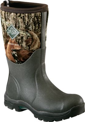 Hunting Learn more about Muck Rubber Boots. Cold-weather boots designed specifically for true womens fit. Warm thermal-foam underlays at insteps. EVA insoles with contoured footbeds and self-cleaning, rugged bob soles with easy-off kick rims. Active comfort range: 50F to -40F. Average weight: 4.15 lbs./pair. Womens whole sizes: 6-10. Camo pattern: Mossy Oak Break-Up. Size: 6. Color: Camouflage. Gender: Female. Age Group: Adult. Pattern: Camo. - $149.99