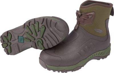 Hunting Built like hikers with the easy-to-clean, waterproof performance of rubber boots. Lightweight and flexible 5mm CR flex-foam booties with four-way stretch nylon seal out water and mud. Full-perimeter Flex outsoles promote comfortable walking and provide maximum protection to toe, arch and heel areas. Ankle-fit lasts and cinch laces with cord locks ensure a snug fit. Breathable Airmesh linings wick away perspiration. Removable 6mm Nitracel EVA sock liners add support and slipper-soft molded comfort in the footbeds. Comfort range of sub-freezing conditions to 85F. Imported.Mens whole sizes: 7-15.Colors: Green, Carbon. - $119.99