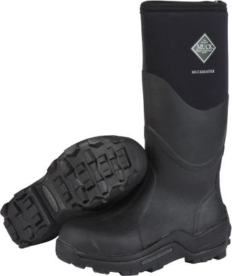 Hunting Premium Muck Boot comfort in durable, commercial-grade work boots. 5mm CR Flex-Foam booties with extended nylon overlays offer 100% waterproof performance, superior flexibility and a four-way-stretch fit for all-day comfort. Stretch-fit top bindings seal in warmth and block cold. 2mm thermal foam underlays in the instep area for added warmth. EVA molded midsoles with countered internal footbeds cradle your feet in shock-absorbing comfort. Wrap-up bumpers and extended rubber overlays for additional protection. Reinforced Achilles areas for kick-off convenience. MS-I molded outsoles are rugged, aggressive and durable for maximum protection and stability. Imported. Comfort range: -20F to 70F. Height: 16.33. Average weight: 4.48 lbs./pair. Mens whole sizes: 5-15. Color: Black. Size: 11. Color: Black. Gender: Male. Age Group: Adult. Material: Nylon. - $139.99