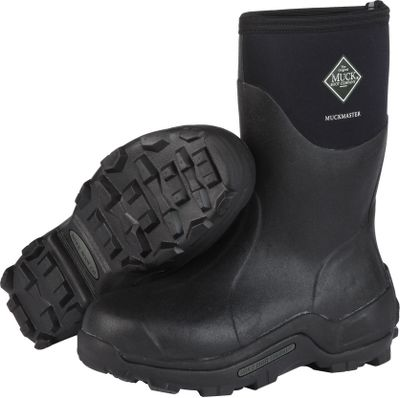 Hunting Premium Muck Boot comfort in durable, commercial-grade work boots. 5mm CR Flex-Foam booties with extended nylon overlays offer 100% waterproof performance, superior flexibility and a four-way-stretch fit for all-day comfort. Stretch-fit top bindings seal in warmth and block cold. 2mm thermal foam underlays in the instep area for added warmth. EVA molded midsoles with countered internal footbeds cradle your feet in shock-absorbing comfort. Wrap-up bumpers and extended rubber overlays for additional protection. Reinforced Achilles areas for kick-off convenience. MS-I molded outsoles are rugged, aggressive and durable for maximum protection and stability. Imported. Comfort range: -20F to 70F. Height: 12.59. Average weight: 4.14 lbs./pair. Mens whole sizes: 5-15. Color: Black. Size: 5. Color: Black. Gender: Male. Age Group: Adult. Material: Nylon. Type: Boots. - $134.99