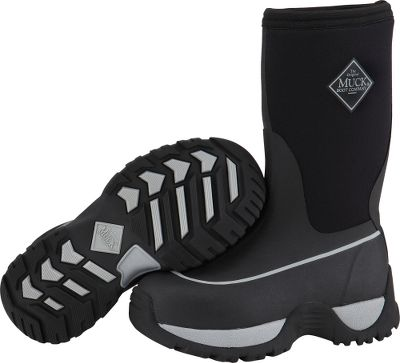 Hunting Rugged kids boots constructed for hard play and lasting winter performance. Stretch-fit topline fits snugly to the leg, traps in warmth and keeps out snow and cold. 100% waterproof, 4mm CR flex-foam booties incorporate four-way-stretch technology for maximum mobility. PK mesh linings for easy on and off. Achilles areas are reinforced for additional protection. EVA midsoles offer long-term stability. Aggressive and durable outsoles deliver outstanding traction on wet and wintry landscapes. Imported. Kids whole sizes: 1-6. Color: Black/Silver. Size: 4. Color: Black/Silver. Gender: Male. Age Group: Kids. - $59.88