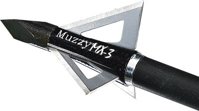 Hunting What sets the MX-3 three-blade apart from the rest of the broadheads in the Muzzy line? For starters, it sports a shorter profile, 1-1/4 cutting diameter and .025-thick, stainless steel blades, making the cutting diameter 1/16 wider and the blades .005 thicker. This updated design allows the MX-3 to fly truer and faster and deliver more killing power at the point of impact. Like its predecessors, this take on Muzzys classic, proven construction includes a bone-splitting Trocar tip, a high-grade aircraft-aluminum ferrule (75 grain and 100 grain, Steel ferrule 125 grain) and interlocking blades that form a stout column of steel within the ferrule. Per 3. Available: 75 gr. - Cutting diameter: 1-3/16 100 gr. - Cutting diameter: 1-1/4 125 gr. - Cutting diameter: 1-3/16 Color: Black. Type: Fixed-Blade Broadheads. - $26.99
