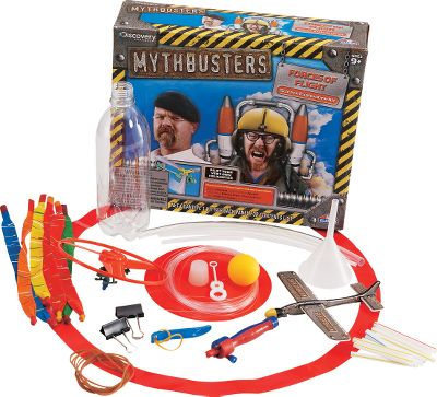 Love the antics of the MythBusters crew? Watch your kids uncover science secrets and bust their own myths. It is a learning experience the whole family can enjoy. This kit helps kids gain a better understanding of flight. Kids will pilot a helicopter, race a rocket, learn how planes steer and take flight lessons from a bubble. Includes instructions and everything needed to conduct four experiments. Ages 9+. - $19.99
