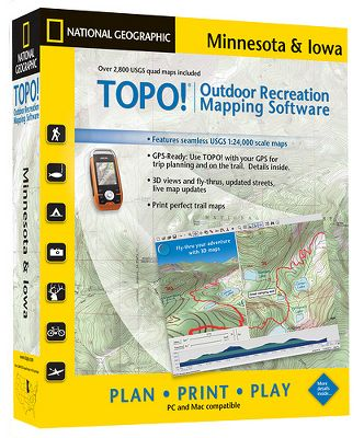 Camp and Hike National Geographic's TOPO! State Series Software has five levels of detailed maps, including authentic USGS 1:24,000, 1:100,000, and 1:500,000 scale topographic maps, plus two National Geographic atlas map levels that are ideal for finding cities and major travel routes. This software comes with tools that make it easy to create and customize maps. Add your own symbols, notes, trails and other information. Print high-resolution maps on any printer. Manage your waypoints, routes and tracks with built in GPS support for many popular handheld receivers. Magellan Triton series owners can use this software to transfer detailed maps to their GPS receiver. Compatible with both Mac and PC operating systems.Computer system requirements: Windows 95, 98, NT, ME, 2000, XP or Vista. 133mhz PC or higher. 64MB RAM + 8MB video Memory or Macintosh OS 10.2 or higher. 350mhz G3 or better. 128 MB RAM + 16MB of video memory. Available: Colorado, Idaho, Utah, Montana, Wyoming, Arizona, Minnesota and Iowa, Nevada, New England, Pennsylvania and New Jersey, Washington. - $34.88