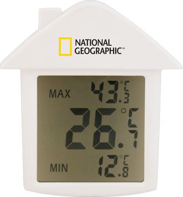 Camp and Hike Keep track of the days temperature with this weatherproof unit. Suction cup secures to the interior or exterior of any window. Large LCD shows current temperature, as well as minimum and maximum C/F selectable. Requires one LR44 button battery (included). Type: Thermometer. - $4.88
