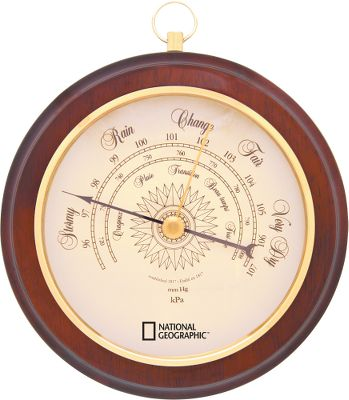 "Camp and Hike An attractive collector's item that displays an assortment of weather changes. Displays include snow, rain, change, fair and very dry in an easy-to-read format. Plastic bezel and lenses. Wooden frame. No batteries are required.Barometer dial: 6.5"".Total diameter: 8.25. - $29.99"