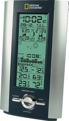 Camp and Hike National Geographics most-economical home weather station conveniently delivers the days weather-related facts. In bold, digital numerals, letters and symbols, it reports the exact indoor/outdoor temperatures, indoor/outdoor relative humidity, wind chill, wind gust, barometric pressure and trend, weather forecast through simple weather icons and moon phase. Minimum/maximum memory. C/F switchable. Wireless transmission up to 100-ft. Station includes outdoor wind and weather sensors and an indoor monitor. The monitor uses three AA batteries (not included) and the sensor uses two AAA batteries (not included). Weight: 1.7 oz.Dimensions: 9.3H x 10.3W x 3.1D. - $29.88