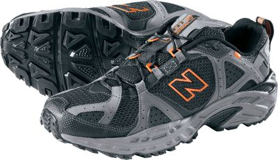 Fitness Rugged and durable, these trail-running shoes have synthetic and mesh uppers for breathability. IMEVA midsoles provide superior cushioning and support. A combination Ghillie and hardware lacing system provides a great fit, while the forefoot flex grooves help ensure flexibility. Aggressive, nonmarking lugged outsoles feature AT Tread for off-road traction and N-durance rubber for maximum durability in high-wear areas. Suitable for those with a neutral gait. Imported.Average weight: 1.6 lbs./pair.Mens sizes: 7-14 D width. Half sizes to 12.Color: Black/Orange. - $39.88