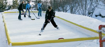 Camp and Hike Ice hockey and figure skating in your backyard kids winter-fun dreams are answered with this easy-to-build ice rink kit. Includes 34 patented brackets, a heavy-duty 24-ft. x 44-ft. liner, one 25-ft. roll of 4 patch tape, 1-oz. underwater glue, one hockey puck and detailed instructions. Assembled dimensions: 20-ft. x 40-ft. Type: Ice Rinks. 20'x40' Rink Kit. - $386.99