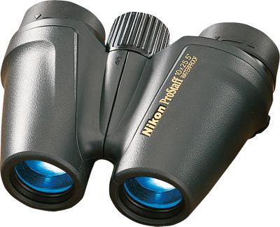 Hunting Nikon has a complete line of optics The Nikon PROSTAFF All Terrain Binocular (ATB) 8x25 Binucular is the compact binocular serious hunters have been waiting for. The rugged ATB construction guarantees 100% waterproof, fogproof and shockproof reliability. Innovative design cuts down on size and weight. Rubber armored for easy gripping and protection. Internally, aspherical eyepiece lenses provide a crisp, distortion-free field of view. BaK-4 high-index prisms and bright, multicoated lenses allow optimum light transmission. Long eye relief helps eyeglass wearers. Twist-up eyecups. Close-focus distance is 9 ft. on both models. Nitrogen purged. - $129.99