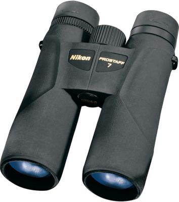 Hunting Nikon has a complete line of optics These full-size Nikon Prostaff 7 ATB 10x42 Binoculars are ideal for a wide range of outdoor adventures, from hunting to wildlife and bird watching. The phase-corrected prisms eliminate image degradation caused by different light phases. All lenses are multicoated with anti-reflective coatings. The ergonomic polycarbonate body is rugged, waterproof, fogproof and durable with a soft feel for comfort during extended periods of glassing. Adjustable eyecups and extended eye relief make these ideal for people who wear glasses. Tripod adaptable. Color: Black. Type: Full-Size. - $129.88