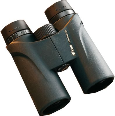 Hunting Nikon has a complete line of optics You can rely on these slim-lined, lightweight Nikon Monarch 5 8x42 Binoculars when the going gets tough and the game moves fast. They feature Eco-Glass dielectric prism coatings for superior sharpness and low-light performance. The super-tough, full-rubber-armored body is O-ring-sealed and nitrogen-purged for waterproof, fogproof reliability. Imported. Color/Camo Pattern: Black. Weight (oz.): 21.5. Type: Full-Size. Power: 8x42. Height (in.): 5.7. FOV @ 1,000 yds. (ft.): 330. Power 8x42 Black. - $279.99