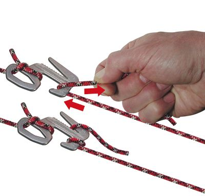 Camp and Hike This clever belaying device works two ways to instantly and easily secure a line and quickly release it. It can be secured to the tag end or anywhere along the length of rope. Made of strong aluminum with instructions for use laser engraved. Perfect for securing loads or staking out a tent or tarp. Imported. - $5.88