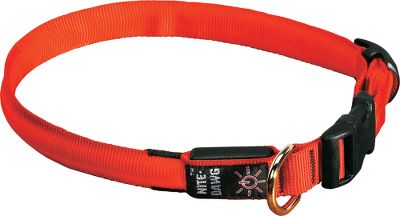 Entertainment Give your hunting partner an added measure of protection with the enhanced visibility afforded by this collar. The strap is flexible, yet tough, nylon webbing secured by a rugged polymer quick-release buckle. Once activated by a weather-resistant switch, the bright red LED emits a highly visible light that can be seen up to 1,000 ft. away. Set the light to constantly glow or blink on and off. Collar is powered by a long-lasting 3-volt CR2032 replaceable battery (included). D-ring on the collar facilitates use of a leash or lead. Sizes: Small(10 -13 ), Medium(13 -18 ), Large(18 -27 ).Color: Red. Size: MEDIUM. Color: Orange. Type: Collars & Harnesses. - $13.88