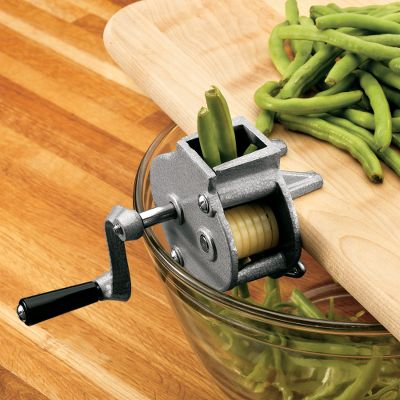 Quickly and easily cut green beans into slender French-style slices. Feed beans into the hopper, turn the crank and the Frencher does the rest. Speeds up the prep time when canning french-style green beans. Heavy-duty construction with stainless steel cutting blades. Clamps securely to any surface up to 1-1/4 thick. Dimensions: 4.6 L x 4.5 W x 4.2 H.Weight: 1 lb. Color: Stainless Steel. - $20.88