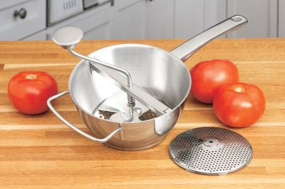 An essential tool for kitchen connoisseurs. This multipurpose food mill is a ricer, masher and strainer all in one. It's great for removing the seeds from cooked tomatoes, removing pulp and larger pieces from food and for creating pures and mashed potatoes. Components separate for easy cleaning. Includes two stainless steel screens: 3mm and 5mm. Dimensions: 21.1 L x 8.4 W x 6.7 H.Weight: 2 lbs. Color: Stainless Steel. - $42.99