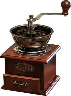 Old-world design with fully functional features. Use hand crank to grind the beans, which deposit into the drawer. Distressed wood base enhances the vintage look. Copper plate reads cafe. Imported. Dimensions: 4.5 L X 4.5 W X 7.5 H to crank. Color: Copper. - $21.99