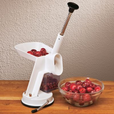 Cut down cherry-pie preparation time with this countertop-mounted pitter. To operate, push the pit gasket in place, fill up the feed tray and start plunging out pits the cherries feed automatically. Includes two gaskets. Clamps to countertops up to 3/4 thick. Dimensions: 7-1/2 L x 6 W x 14 H. Color: Cherry. - $29.99