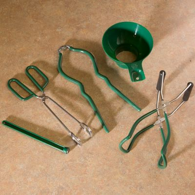Six essential canning tools in one convenient package. Includes vinyl-coated jar wrench, vinyl-coated jar lifter, vinyl-handle tongs, extra-wide-mouth funnel, magnetic lid lifter, and a bubble popper/measurer. Type: Canning Accessories. - $14.99
