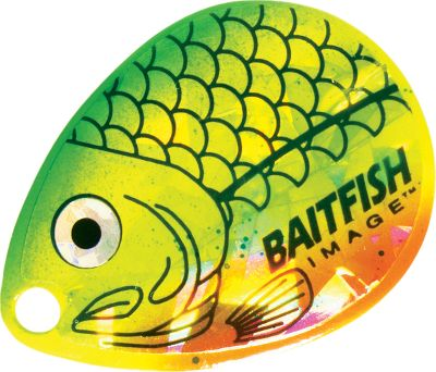 Fishing Stamped from solid brass, these blades also use a deadly new holographic Baitfish-Imagedesigned for superior flash and deception. Per three.Colors: (021)Firetiger, (056)Gold Shiner, (066)Silver Shiner, (257)Rainbow Chub, (542)Gold Perch, (545)Sunrise, (007)Alewife White, (402)Clown. Type: Colorado Blades. Color Firetiger. - $1.88