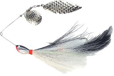 Fishing A record-class muskie killer in both heavy cover and open water. Its hand-tied, genuine-bucktail skirt pulsates below magnum-sized blades to imitate favorite meals of toothy predator fish. Two 7/0 hooks grab and hold giant pike and muskies. Per each. Size: 1 oz. Colors: (001)White Cisco, (002)Yellow Perch, (003)Black Sucker, (004)Walleye, (005)Firetiger, (006)Blackbird, (007)Sunrise. Color: Sunrise. - $15.99