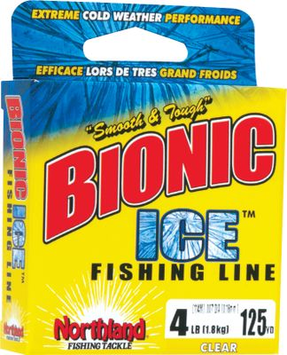 Fishing The Northland Bionic Ice Line is perfect for jiggin, bobberin and spoonin. The silky-smooth, no-tangle formula is as sensitive as it is tough in the extreme cold. Anglers can see the line, but fish cant. Sizes: 2, 3, 4, 6, 8-lb. test. Colors: Clear, Blue Camo. Color: Blue Camo. - $2.79