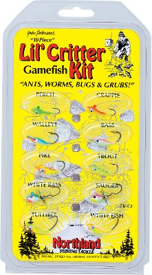 Fishing A 14-piece kit that includes ants, worms, bugs and grubs with Super-Glo neon attractor colors to land walleye, trout, panfish and other game fish. Ultrasharp, Premium Mustad Ultra-Point hooks. - $12.99