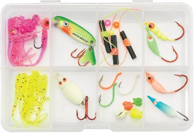 Fishing This kit was developed by the Northland pro staff and ice-fishing guru Brian Bro Brosdahl to help you put more fish on ice. The small, pocket-sized tackle box contains an array of lures and tackle made to catch jumbo perch. The collection of jigs, flies, spoons and hooks save you the time and hassle of assembling your own kits. You also save money compared to purchasing the individual components separately. 24-piece kit includes: Doodle Bugs, a DoodleBug Spoon, Forage Minnows, Macho Minnow bobber stops, hooks and sinkers. - $10.99
