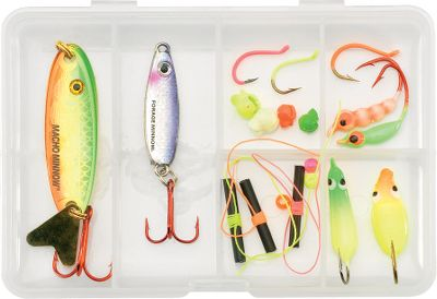 Fishing An 18-piece assortment of lures and tackle that is designed to target finicky walleyes. All in a compact case you can slip into a pocket. - $10.99
