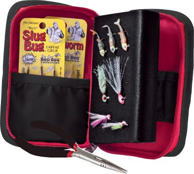 Fishing Keep tackle neat and close at hand with this pocket-sized jig and tackle organizer. The durable polyester cover zips shut and inner mesh pockets hold the included pliers and smaller tackle and tools. The removable foam insert holds 30 or more small jigs and lures while an another inner pocket is great for bobbers, tackle tubs and more. Tackle not included. Imported. - $9.88