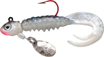Fishing Lifelike minnow head with thumping blade and DoubleCurl tail. Per 2. Sizes: 1/16 oz., 1/32 oz. Colors: (011)Silver Shiner, (022)Firetiger, (023)Perch, (061)Pinky. Color: Silver. Type: Panfish Jigs. - $2.99