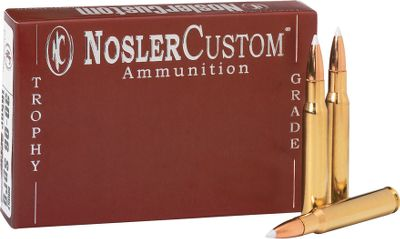 Hunting Using the same technology and precision that brought you NolserCustom ammunition, Nosler has gone one better with its NoslerCustom Trophy Grade utilizing the strictest quality standards ever. The ammunition uses NoslerCustom brass and Nosler bullets to achieve optimum performance. Cases are checked for correct length. Necks are sized, chamfered and trued. Other quality controls include inspecting flash holes for correct alignment, meticulously weighing powder charges and inspecting and polishing each round by hand. 20 rounds per box. Type: Centerfire Rifle Ammunition. - $40.99