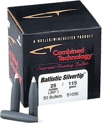 These bullets are aerodynamically efficient and feature boattail designs to maximize long-range bullet stability and accuracy. In varmint weights they are constructed for instantaneous expansion on impact. The streamlined polycarbonate tip resists deformation in a magazine, and provides a streamlined meplat for a flat trajectory that expands on impact with light and medium game. The thin jacket mouth opens easily and peels uniformly rearward to offer dependable long range and low velocity expansion. A streamlined portion of the bullet in front of the bearing surface minimizes wind drift and flattens trajectories. The core cavity allows a polycarbonate tip to generate momentum before contact with the lead core, allowing dependable bullet expansion at the lowest practical velocity levels and moves the bullet center of gravity rearward for better accuracy. A form-fitted core offers bullet accuracy by virtue of uniformity and concentricity. The Solid Base Boattail design reduces drag to maximize long range ballistic performance while providing a platform for a large diameter mushroom. - $29.99