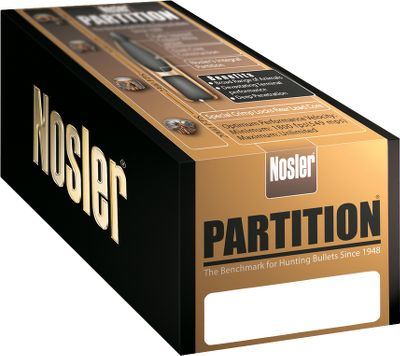 The Nosler Partition bullet gives you accuracy, controlled expansion and weight retention. This bullet is ideal for use on any game and in any situation. The fully tapered jacket ruptures instantly at the thin jacket mouth, yet the gradual thickening along the bullets axis controls expansion and curls the jacket uniformly outward. A special lead alloy dual core construction provides superior mushrooming characteristics at virtually all impact velocities, and Noslers integral partition supports the expanded mushroom and still retains the rear lead alloy core. A special crimp locks in the rear core section to provide strength to resist deformation under the pressure of heavy magnums. The enclosed rear core retains more than half the original bullet weight for deep penetration. Made in USA. - $19.49