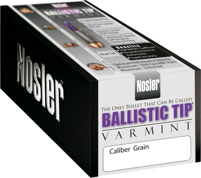 Hunting Hunters and target shooters have counted on Nosler bullets for decades. Renowned throughout the world for exceptional performance and reliability, each bullet is constructed of premium materials to exacting precision. The result is consistent on-target performance and superior accuracy. No matter what kind of game you hunt or shooting sport you enjoy, Nosler has a bullet tailor-made to your application. Superior long-range ballistics, structural integrity and explosive expansion team with match-grade accuracy to deliver performance varminters look for. Streamlined polymer tips and boattail design. Ultrathin jacket on front with a heavy jacket base. Made in USA. Type: Rifle Bullets. - $49.99
