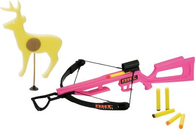Teach your children both safety and marksmanship with this fun shooting toy. The Girlz Toy Crossbow from NXT Generation functions like the real thing and comes with six foam projectiles (three hook-and-loop-tipped, three suction-tipped) and a cling target. Ages 14+. 25L x 18W x 6H. Color: Pink Fire. Color: Pink Fire. Gender: Female. Age Group: Kids. Type: Crossbow. - $34.99