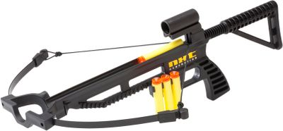 Your youngsters will have hours of fun testing their crossbow skills with this safe, easy-shooting toy crossbow. Kit includes the crossbow, quiver and three foam projectiles. Recommended for ages 14 and up. Dimensions: 19-1/2L x 10W. Type: Shooting Toys. - $24.99