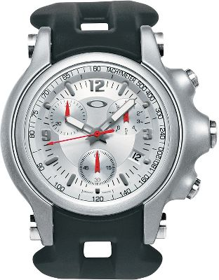 Oakley athletes are the inspiration behind this Swiss-made, four-jewel quartz chronograph movement watch. Measures cumulative time, intermediate time and split time down to a tenth of a second. For durability, the six-hand analog display, showing hours, minutes, small jumping second at 6 oclock, sub-dial counters for 1/10 second, 60 seconds and 30 minutes, is sealed with a pure sapphire crystal featuring an anti-reflective coating. Luminous phosphors on the minute and hour hands improve viewing in low light and a dual-seal crown protects the case against water pressure. Matte-honed impact forged stainless steel case has a screw-down back. Comfortable Unobtainium band is competition ready. Technically inspired dial face adds sophistication. Other features include mechanical date display, 38-month battery, and tachymeter. Water-resistant to 100 meters.Case diameter: 47.5mm. - $650.00