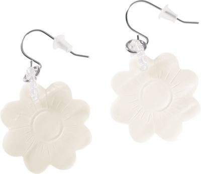 Entertainment The hand-carved flower earrings are light and delicate and really bring out the distinct beauty of the natural mother-of-pearl. The white flowers are fastened to the stainless steel fish hooks with a single, dainty loop of translucent beads. Dimensions: 1L x 1W x 2/16D. Color: White. Gender: Female. Age Group: Adult. Type: Earrings. - $11.99