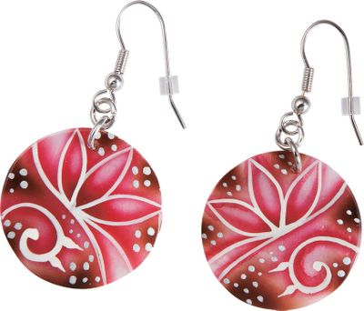 Entertainment Striking hand-painted pink natural shell discs with floral overlay design on stainless steel fish hooks will complement almost any ensemble. Dimensions: 1L x 1W. Color: Shell. Gender: Female. Age Group: Adult. Pattern: Floral. - $14.99