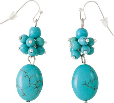 Entertainment Add a vivid splash of color to your day. Stainless steel fish-hook-style earrings present a brilliant array of simulated turquoise. Dimensions: 1-7/8L x 1/2W x 3/8D. - $8.99