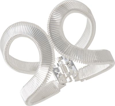 Entertainment Unique wrapped-wire design bracelet is a great choice for casualwear. Durable alloy construction sports a hinge closure for a secure hold. Dimensions: 3-5/8W. Color: Silver. Gender: Female. Age Group: Adult. Type: Bracelets. - $22.88