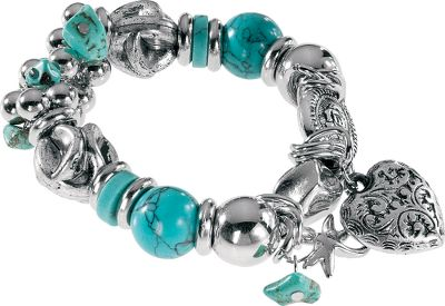 Entertainment A fashionable bracelet with antique-finished, cast silver beads alongside a heart and dragonfly charms. Stretch filament with simulated turquoise stone. Dimensions: 3-1/4L x 3-1/4W x 3/4D. Type: Bracelets. - $22.88