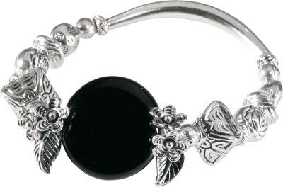 Entertainment Leaf and flower accents detailed in silver beads give this bracelet understated style. Black glass center disc creates an eye-catching focal point. Dimensions: 3-1/4H x 3-1/4W x 1/2D. Color: Silver. Gender: Female. Age Group: Adult. Type: Bracelets. - $15.99