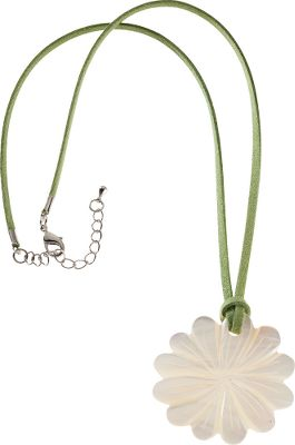 Entertainment A hand-carved flower pendant made of beautiful mother-of-pearl gives this necklace fashionable outdoor style. Suede cord. Lobster-claw fastener with an extension chain. Necklace length: 18.Pendant: 1-1/2. Type: Necklaces. - $13.88