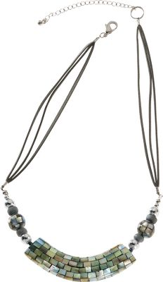 Entertainment A fashionable necklace boasting stylish, hand-painted wood and base-metal beads on a half-curved tube. Gray suede cord. Lobster-claw fastener and extension chain. Length: 18. Pendant dimensions: 2-3/4L x 1/2W. Size: 18. Color: Grey. Gender: Female. Age Group: Adult. Material: Suede. Type: Necklaces. - $22.88