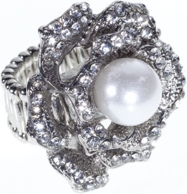 Entertainment An eye-catching stretch ring that delivers affordable style and the convenience of one-size-fits-all versatility for wear by anyone on any finger. Metal-alloy construction gives it the appearance of silver and its dressed up with faux pearl and rhinestones. One size fits most.Size: 1.8H x 1.5L x .8dia. Gender: Women's. Type: Rings. - $11.88